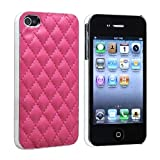 Sleek Gadgets - Luxury Pink Leather Designer Style Quilted Hard Back Case Cover for Apple iPhone 4, iPhone 4S, 4 S 8GB, 16GB