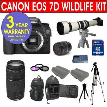 19 Piece Super Zoom Kit With Canon Eos 7D 18 Mp Digital Slr Camera Body With Canon Ef-S 18-55Mm Is Lens + Canon 75-300Mm Telephoto Zoom Lens + Rokinon 650-1300Mm Lens With 2X Converter (=1300-2600Mm) Zoom Lens + 8 Gb Memory Card + Multi-Coated 3 Piece Fil