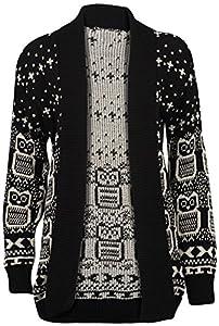 New Women Christmas Owl Print Knitted Jumper Long Sleeve Xmas Cardigans Sweater Uk Size 8-26 (s/m 8-10, 02black Cardigan)