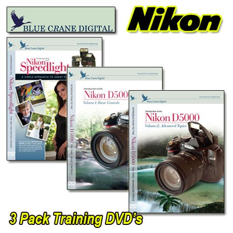 Nikon DVD D5000 3 Pack Vol 1 & 2 with Speedlight Camera Training Video Guide by Blue Crane Digital