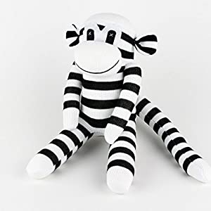 Handmade Black Striped White Traditional Sock Monkey Doll Baby Gift Toy