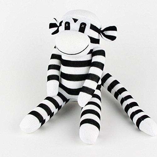 Handmade Black Striped White Traditional Sock Monkey Doll Baby Gift Toy
