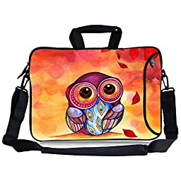 KTMORE 13-Inch Cute Colorful Cartoon Owl Design Waterproof Neoprene Laptop Sleeve Case Bag with Extra Side Pocket, Soft Carrying Handle & Removable Shoulder Strap + Soft Mouse Pad for 12.5 to 13.3 inch Laptop Chromebook Ultrabook Macbook Pro Air HP Dell A