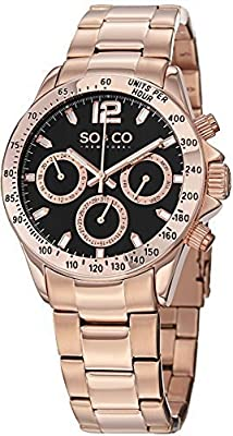 SO&CO New York Mens Specialty HN5001.4 luminous Quartz Day and Date Stainless Steel Rose Gold Tone Bracelet Watch