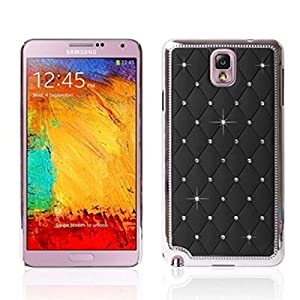 BestCool 1x 3D Bling Cadre Métallique Cristal de Diamant Paillettes Strass étoile Housse Dur pour Samsung Galaxy Note 3 N9000 N9005 - Noir