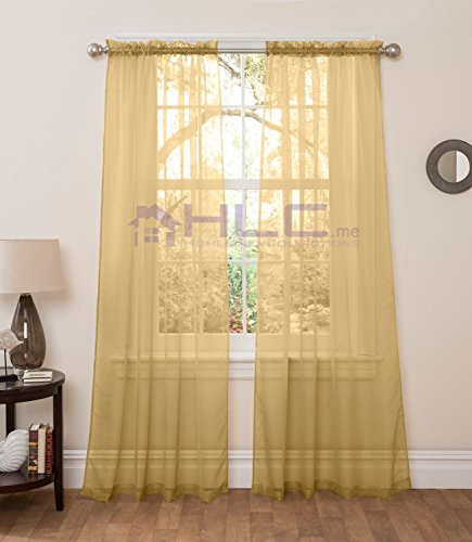 "HLC.ME Matte Sheer Window Treatment Curtain Panels - Pair - 84"" inch Long (Gold)"