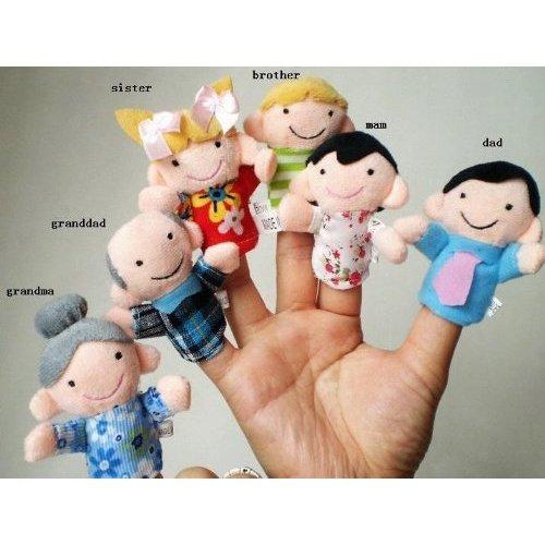 Juego de 6 Marionetas de Dedo - Familiares Incluyen Madre, Padre, Abuelo, Abuela, Hermano, Hermana con Lazo de Cable