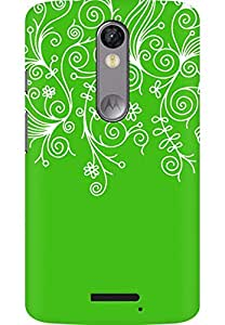 AMEZ designer printed 3d premium high quality back case cover for Moto X Force (green white design pattern abstract)