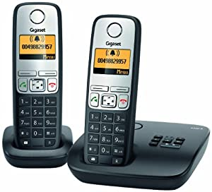 Gigaset A400A Duo Dect-Schnurlostelefon mit Anrufbeantworter, incl. 1 zusätzlichen Mobilteil, schwarz