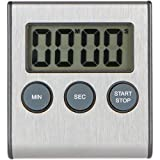 B2B Professional Stainless Steel Digital Kitchen Timer, Cooking Food, Magnetic Back, Retractable Stand, Bonus: AAA Battery Included