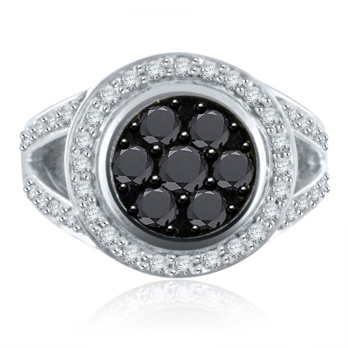 Sterling Silver Black/white Simulated Diamond Ring