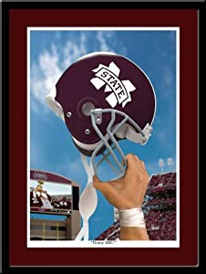 Mississippi State Victory Football Helmet Framed Print by MyTeamPrints LLC