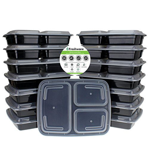 Freshware 15-Piece 3-Compartments Bento Lunch Box with Lids Set, 32 oz (Lunch Container Disposable compare prices)