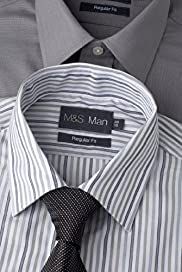 2 Pack Easycare Plain & Striped Shirts with Tie