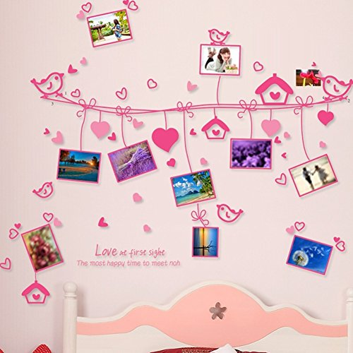 Wall Decals Stickers Paper Removable Home Living Dinning Room Bedroom Kitchen Decoration Art Murals Diy Stick Girls Boys Kids Nursery Baby Room Playroom Decorating (Pink Love Photo)