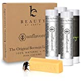 Beauty By Earth Lip Balm The Original Unflavored & Unscented 4 Pack - 100% Natural And Pure Beeswax Lip Care With Aloe Vera & Vitamin E - Condition And Repair Dry Chapped Lips