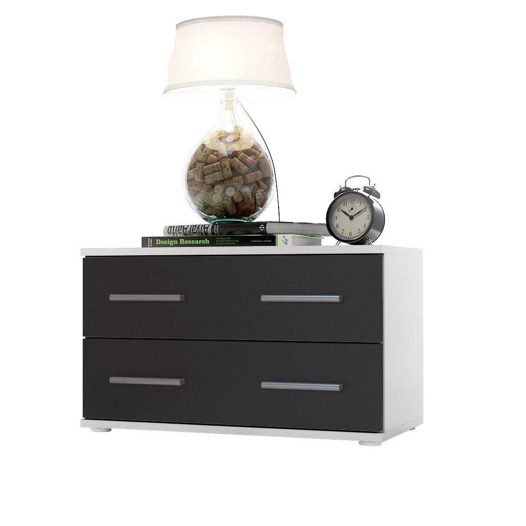 Bedroom Bedside Cabinet Kioto in White / Black matt       Customer review and more information