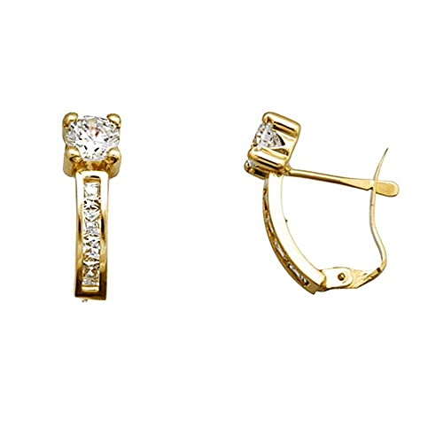18k gold cubic zirconia earrings 5mm. [AA5323]