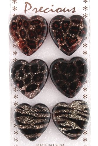 Ladies Unique Multicolored Dark Sparkle Heart Shape Animal Print Style Clip On Earrings