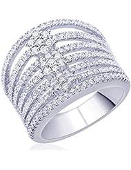 Diwali Gifts Peora Sterling Silver Rhodium Micro Pave CZ Glitzy Empress Ring (PR543-6)