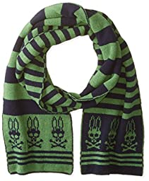 Psycho Bunny Men\'s Dundee Tubular Knitted Stripe Scarf, Navy/Apple, One Size