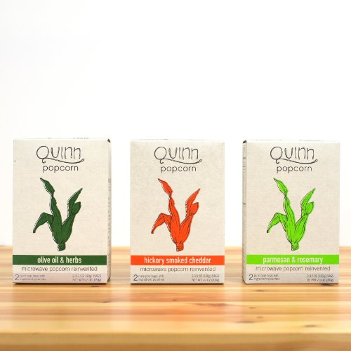 Quinn Popcorn: Microwave Popcorn Reinvented {Variety Case: Hickory/Parmesan/Olive Oil} 3Pk