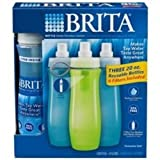 Brita Bottle Water Filtration System ~ Three 20Oz Reusable Sports Bottles With 6 Filters Included