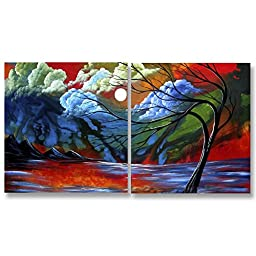 Neron Art - Handpainted Landscape Oil Painting on Gallery Wrapped Canvas Group of 2 pieces - Orleans 16X8 inch (41X20 cm)