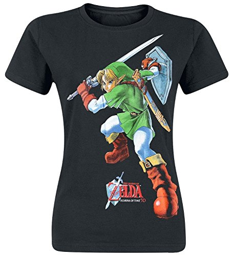 Legend of Zelda Nintendo Legend Of Zelda Women's Link Ocarina Of Time Print T-shirt-T-shirt  Donna    nero Small
