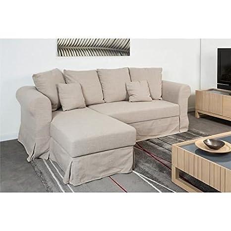 FINLANDEK Sofá de esquina ESKO reversible 3 plazas, 224 x 95 x 144 cm, diseño de efecto lino textil