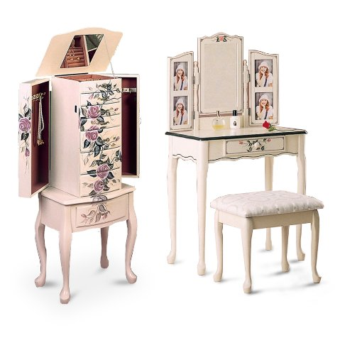 New White / Ivory Jewelry Chest and Make-up Vanity Set w/ Mirror and Bench