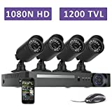 Zclever 4 Outdoor 1080N HD 1200TVL Home Security Camera System with 8 Channel 1080N AHD Surveillance DVR