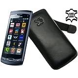 Original Suncase Echt Ledertasche für Samsung Wave 2 GT S8530 in schwarz