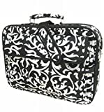 Damask Black and White Laptop Case Bag 17 Inches