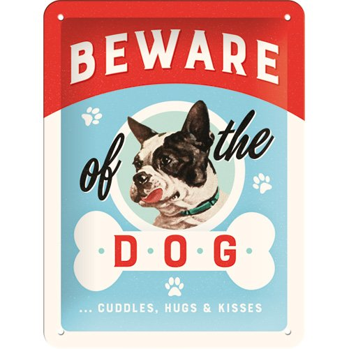 nostalgic art 26209 animal club beware of the dog kisses blechschild 15 x 20 cm. Black Bedroom Furniture Sets. Home Design Ideas