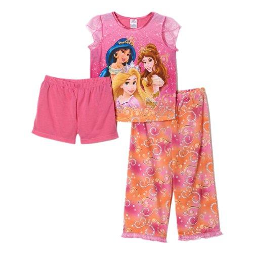 Disney Little Girls Princess 3 Piece Pajama Set (8) front-91522