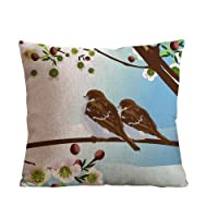 ilkin Animal Style Bird and branch Throw Pillow Case Decor Cushion Covers Square 18*18 Inch Cotton Blend Linen from ilkin