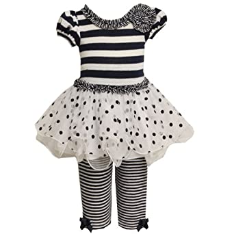 Size-4T BNJ-8715-R 2-Piece NAVY-BLUE WHITE STRIPED KNIT FLOCK DOT MESH WIRED HEM Nautical Resort Dress/Legging Set,R28715 Bonnie Jean TODDLERS