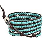 """Real Spark 5 Wrap Turquoise Leather Bracelet Adjustable Womens Charms 23"""" Length Vintage Style"""
