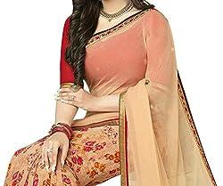 Pramukh saris Womens Georgette Printed Sari(Beige)