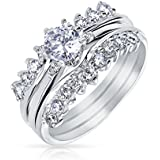 Bling Jewelry Sterling Silver 6mm Round CZ Guard Engagement Wedding Ring Set