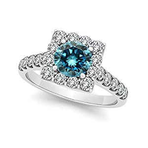 1.75 Carat Blue Round Diamond Halo Fancy Engagement Wedding Ring 14K White Gold