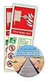 Fire Hose Reel Photoluminescent Sign 80x200mm Self Adhesive Pack of 50 With Coaster