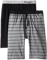 Hanes Men\'s Big-Tall Knit Sleep Short, Pale Grey Heather/Black, XX-Large (Pack of 2)