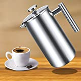 Teamyy 1L Press Kaffeekanne Kaffeebereiter Kaffee Kaffee-Tee-Maschine Doppelwand aus rostfreiem Stahl Kaffee Press Pot Edelstahl Material