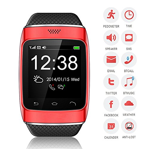 Bellstone 240×240 1.54インチ 静電容量式タッチスクリーン搭載 メンズ・レディース 兼用 多機能ブルートゥース スマートウォッチ smart watch タッチスクリーン Bluetooth 腕時計ブレスレット ハンズフリー通話・音楽プレーヤー・着信知らせ・時刻表示・置き忘れ防止・録音・目覚しい時計・万歩計多機能腕時計機能付き!iPhone4 5 5S 5C 6、HTC ONE M8 Galaxy S5 S4 などのAndroid、iPhoneに対応可! (レッド)