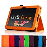 Fintie (Orange) Slim Fit Leather Case Cover Auto Sleep/Wake for Kindle Fire HD 8.9