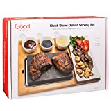 Cooking Stone for Tabletop- Deluxe Tabletop Hibachi Grilling Stone with Ceramic Side Dishes and Bamboo Platter