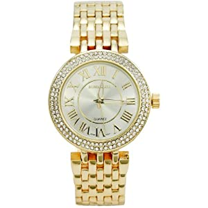 BOMBSHELL Women's BS1013G 7-Link Gold Bracelet with 130 Rhinestones Gold Dial Watch
