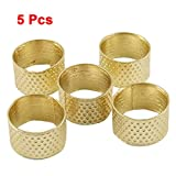 5 Pcs Gold Tone Metal Ring Reeded Thimble for Tailoring Sewing